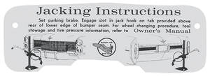 1965 Eldorado Jacking Instruction Tag - Cardstock