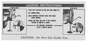 1967-1967 Cadillac Jacking Instruction Decal (#1489537) Except Eldorado