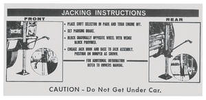 1967 DeVille Jacking Instruction Decal (#1489537) Except Eldorado