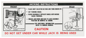 1969 Eldorado Jacking Instruction Decal (#1484551)