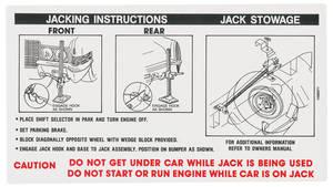 1970-1970 Cadillac Jacking Instruction Decal (#1496071) Except Eldorado