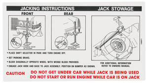 1970 Cadillac Jacking Instruction Decal (#1496071) Except Eldorado