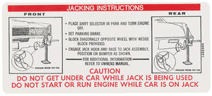 1970 Cadillac Jacking Instruction Decal (#1495866) Eldorado