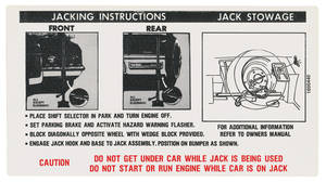 1972 Cadillac Jacking Instruction Decal (#1600440) Except Eldorado