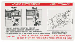 1972 Jacking Instruction Decal (#1600442) Eldorado
