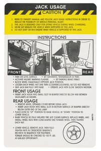 1975 DeVille Jacking Instruction Decal (#1606753) Except Eldorado