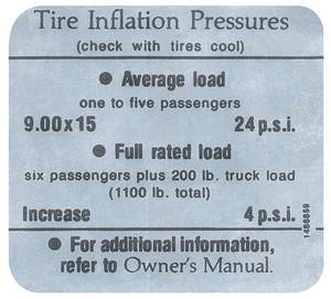 1966 Cadillac Tire Pressure Decal (#1486859)