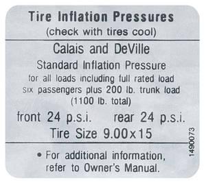 1967-1967 Cadillac Tire Pressure Decal (#1490073) Calais & DeVille