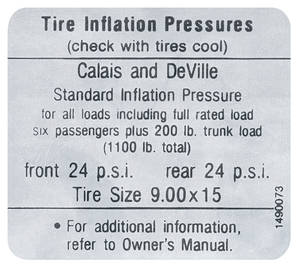 1967 Cadillac Tire Pressure Decal (#1490073) Calais & DeVille