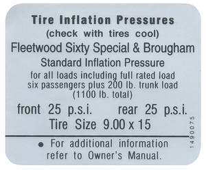 1967 Cadillac Tire Pressure Decal (#1490075) Fleetwood, Except Brougham