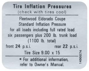 1967-68 Cadillac Tire Pressure Decal (#1490074) Eldorado