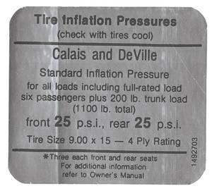 1968 Cadillac Tire Pressure Decal (#1492703) Calais & DeVille