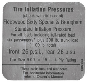 1968-69 Eldorado Tire Pressure Decal (#1492704) Fleetwood Brougham