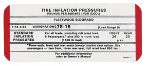1969 Tire Pressure Decal (#1495531) Eldorado