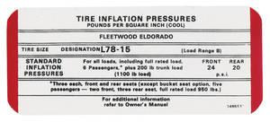 1969 Cadillac Tire Pressure Decal (#1495531) Eldorado