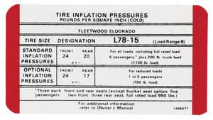 1970 Tire Pressure Decal (#1496477) Eldorado & Fleetwood