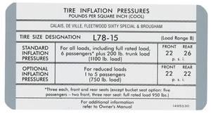 1970 Cadillac Tire Pressure Decal (#1495530) Calais & DeVille