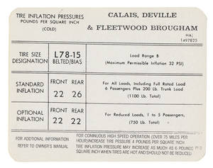 1971-72 Tire Pressure Decal (HA, #1497825) Calais, DeVille & Fleetwood
