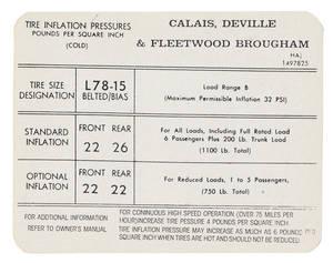 1971-72 Cadillac Tire Pressure Decal (HA, #1497825) Calais, DeVille & Fleetwood