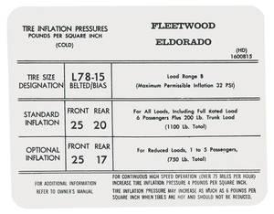 1972-1972 Cadillac Tire Pressure Decal (HD, #1600815) Eldorado