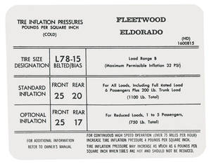 1972 Tire Pressure Decal (HD, #1600815) Eldorado