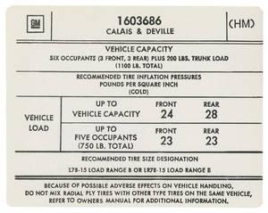 1974 Tire Pressure Decal (HM, #1603686) Calais & DeVille