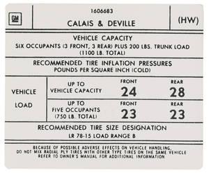 1975-1976 Cadillac Tire Pressure Decal (HW, #1606683) Calais & DeVille