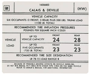 1975-76 Cadillac Tire Pressure Decal (HW, #1606683) Calais & DeVille