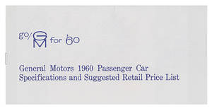 1960 Cadillac Dealer Price Booklet, Original