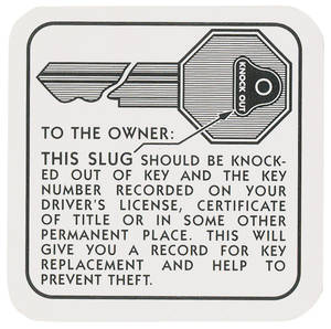1954-1955 Cadillac Key Knockout Instruction Decal
