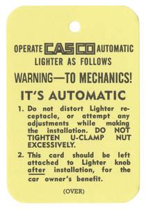 1954-1957 Cadillac Cigarette Lighter Tag, Casco Automatic
