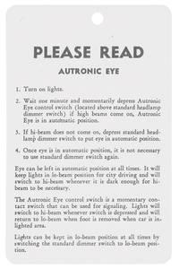 1957-59 Cadillac Autronic Eye Instruction Tag
