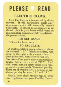 1954-1959 Cadillac Clock Instruction Tag, Electric (#78-1)