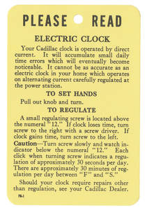 1954-59 Cadillac Clock Instruction Tag, Electric (#78-1)