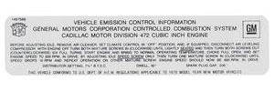 1974 DeVille Emissions Decal (#1497566) - Except Eldorado