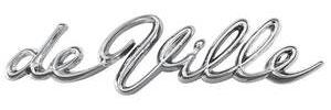"Cadillac Quarter Panel Emblem, 1963-64 ""DeVille"" (Script)"