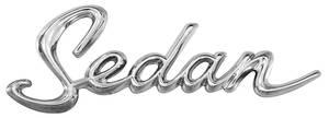 "DeVille Quarter Panel Emblem, 1963-64 ""Sedan"" (Script)"