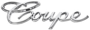 "Cadillac Quarter Panel Emblem, 1965-70 (Script) ""Coupe"""