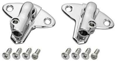 1959-60 Cadillac Sun Visor Supports, Chrome - with Base Screws (Eldorado & 4-Door Hardtop)