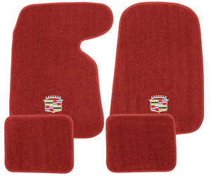 1954-1976 Cadillac Floor Mats, Carpet Matched Essex (with Cadillac Crest), by Trim Parts