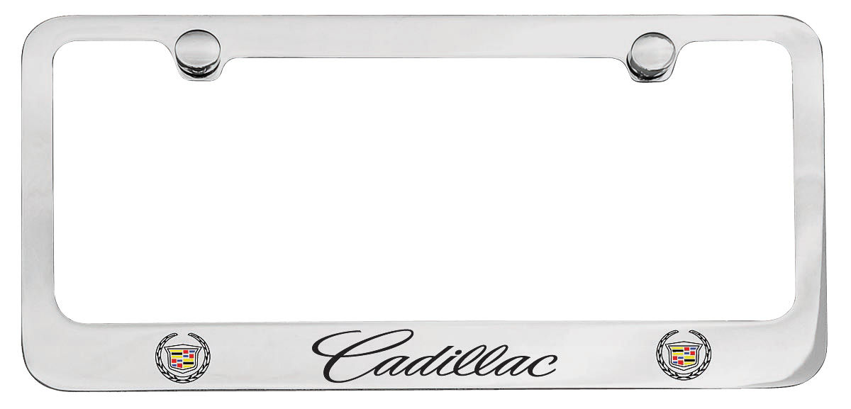 """Photo of License Plate Frame, Designer (""""Cadillac"""" Script with Crest)"""