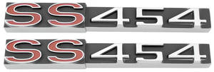 """Monte Carlo Rocker Panel Emblems, 1970-71 """"SS 454"""" (Red """"SS""""), by TRIM PARTS"""