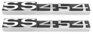 "Monte Carlo Rocker Panel Emblems, 1970-71 ""SS 454"" (White ""SS""), by TRIM PARTS"