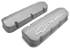 1964-1977 Chevelle Valve Covers, Aluminum Chevrolet Big-Block Black, w/o Holes, by GM