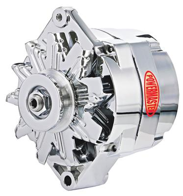 1954-1976 Cadillac Alternator, Performance - 12si (100-Amp, Internal Regulator) with Chrome Finish, by POWERMASTER