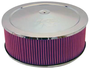 "1964-77 Chevelle Air Filter Assembly w/Chrome Lid, Complete 1-1/4"" Drop Base 5"" Filter"