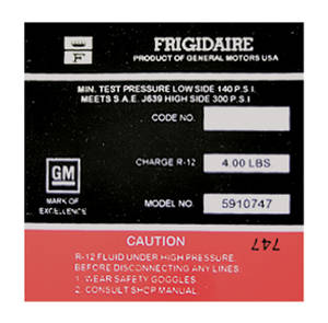 1970 Cadillac Air Conditioning Compressor Decal - Frigidaire (Red, #5910747)
