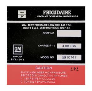 1970 Eldorado Air Conditioning Compressor Decal - Frigidaire (Red, #5910747)