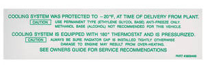 1965-66 Chevelle Cooling System Decal (#3859468)
