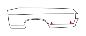 El Camino Body Side Molding, 1970-72 Quarter Rear